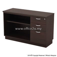 Q-YOP7123-W COMBINATION LOW CABINET (OPEN SHELF + FIXED PEDESTAL 2D1F)
